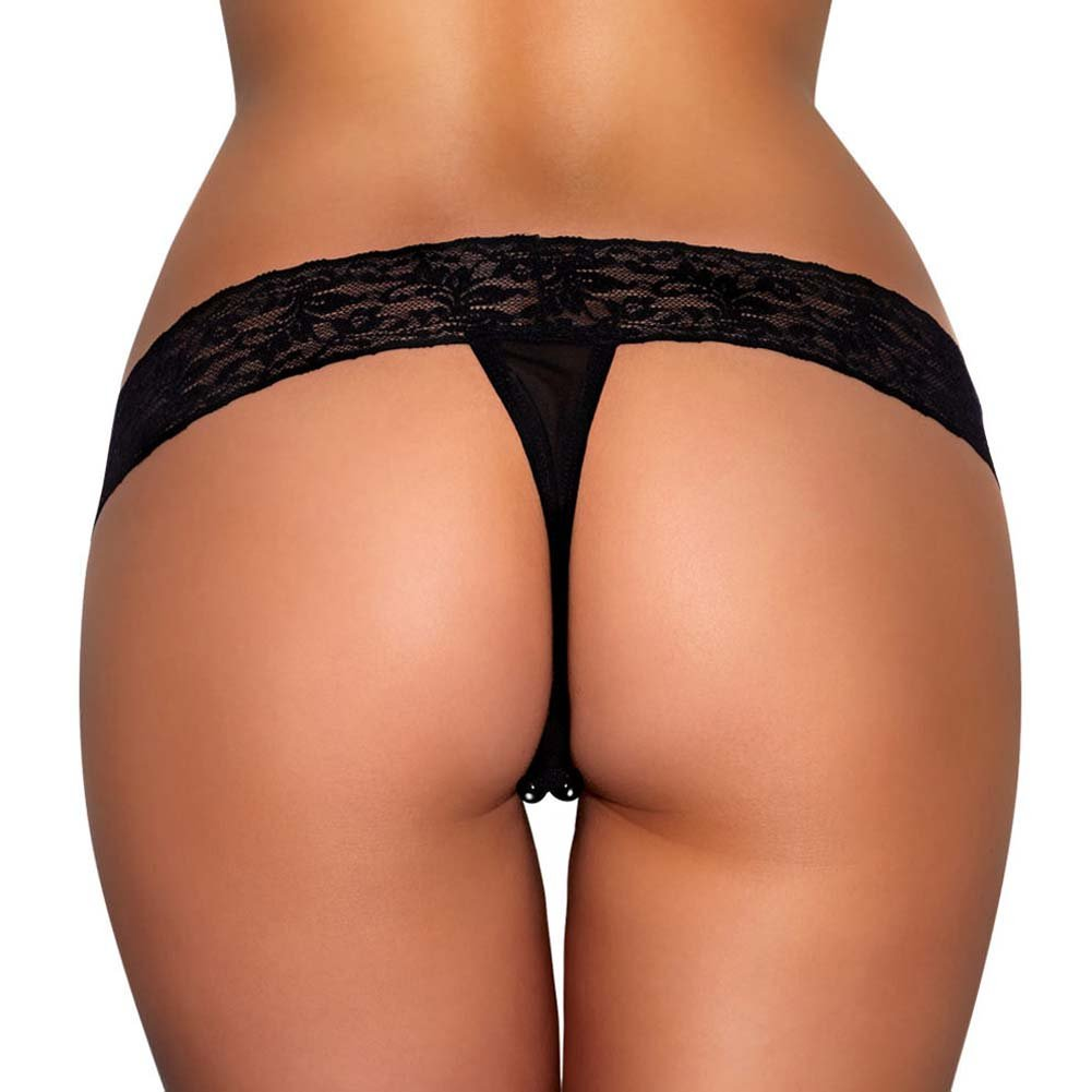 Hustler Lace Thong with Black Stimulating Beads Medium/Large Black - View #2