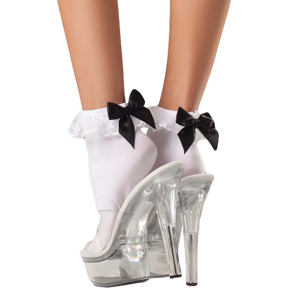 Be Wicked Ruffle-Top and Satin Bow Anklets One Size White - View #1