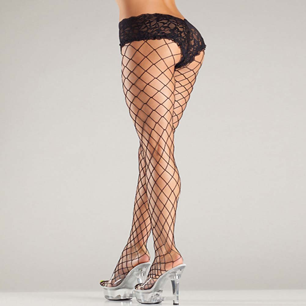 Be Wicked Fence Net Tights with Boyshort Top Plus Size Black - View #3