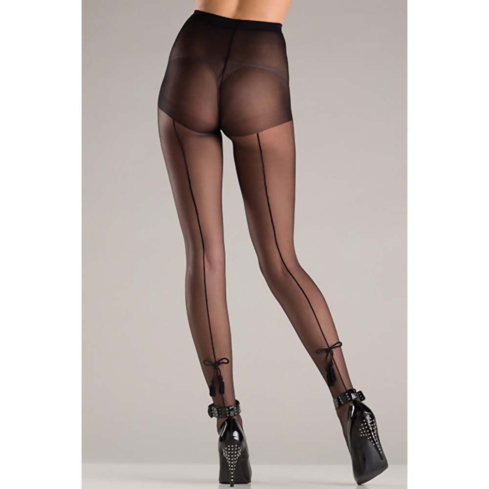 Be Wicked Pantyhose with Tassel Bow One Size Black - View #2