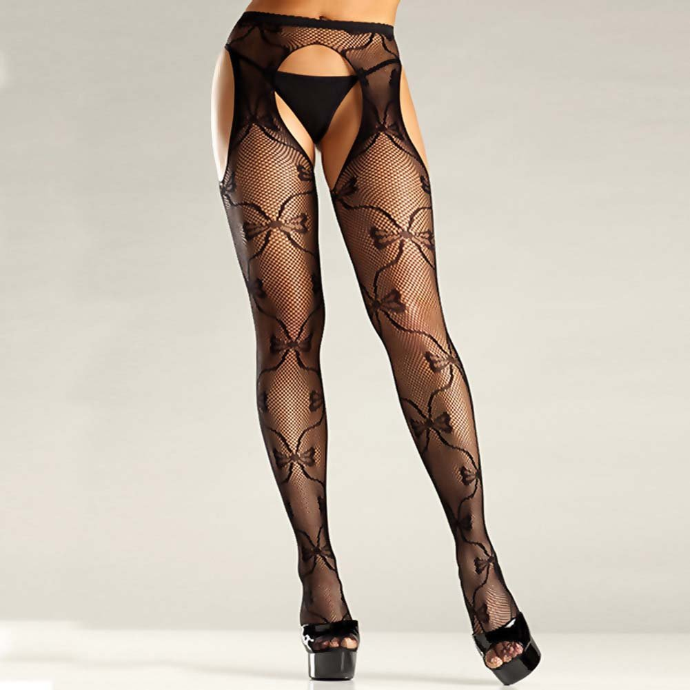 Be Wicked Bow Lace Suspender Pantyhose One Size Black - View #2