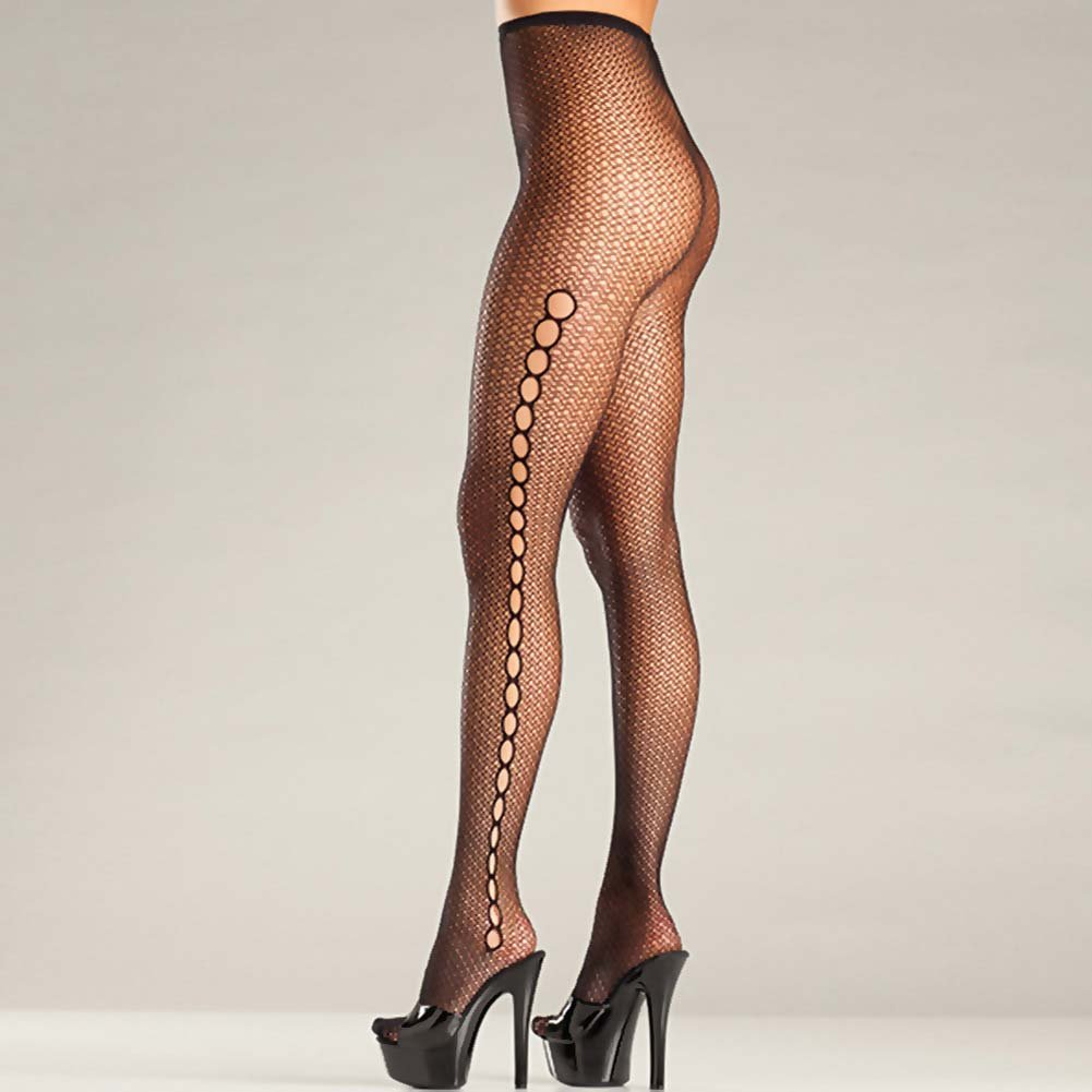 Be Wicked Seamless Fishnet Keyhole Pantyhose One Size Black - View #2