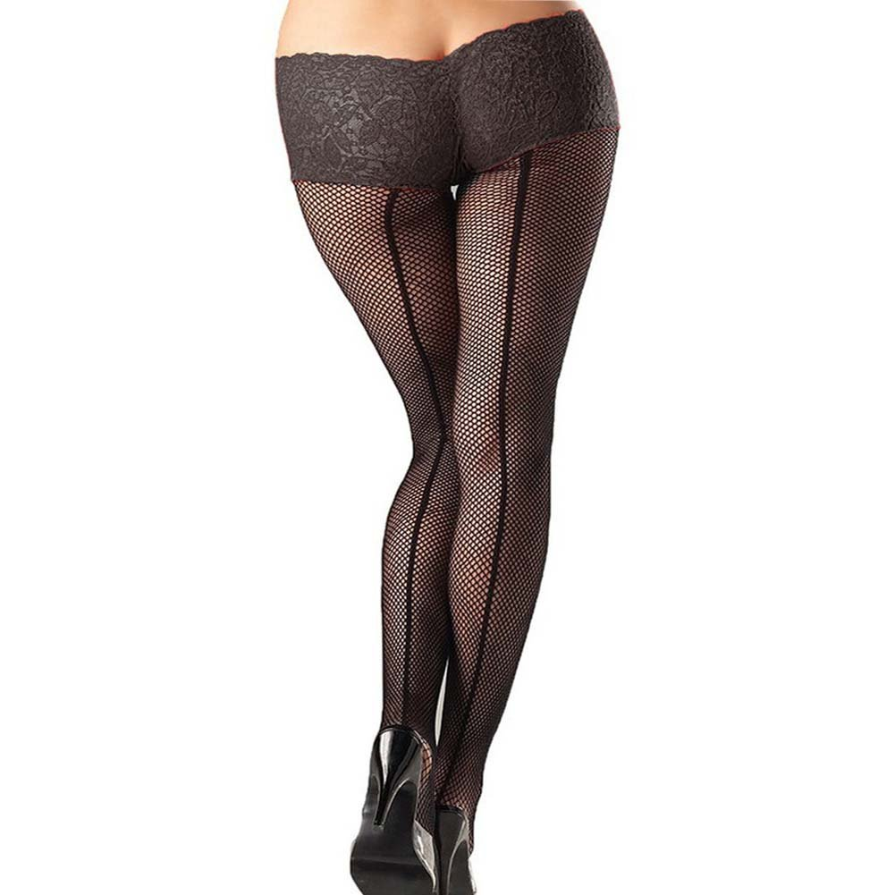 Be Wicked Fishnet Pantyhose with Lace Shorts Plus Size Black - View #1