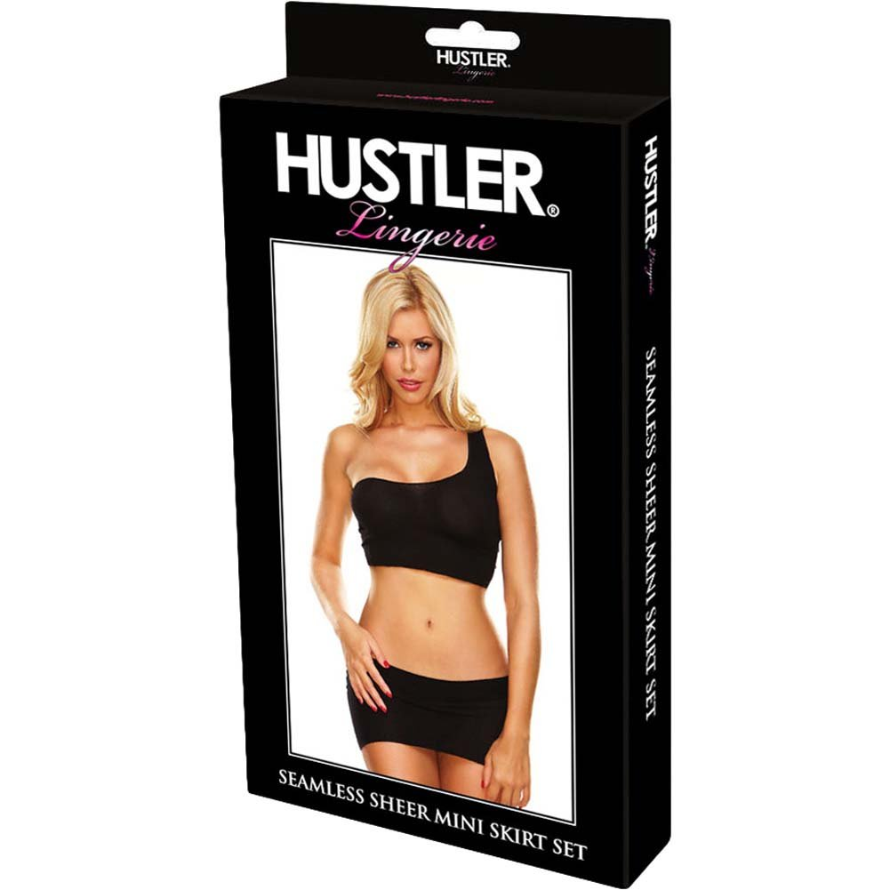 Hustler Seamless Sheer Mini Skirt Set One Size Black - View #3