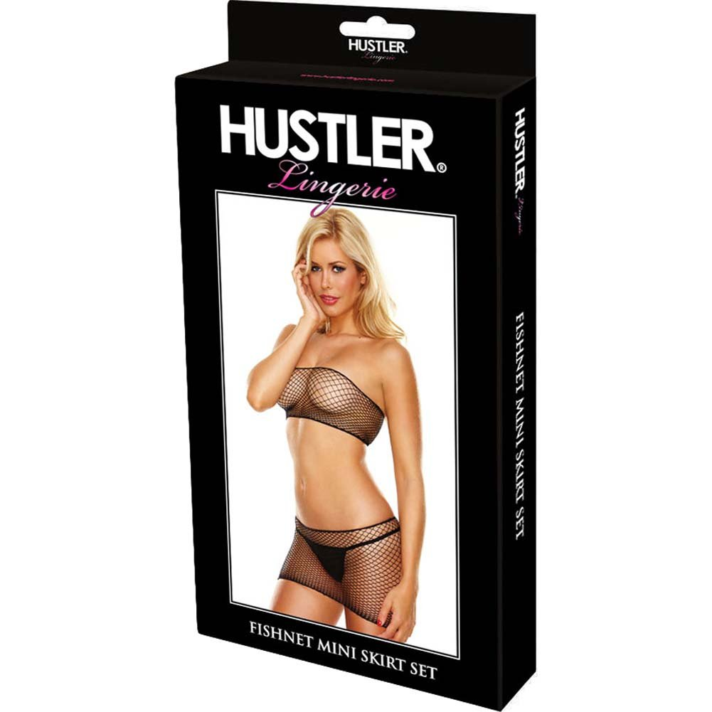 Hustler Fishnet Mini Skirt Set One Size Black - View #3