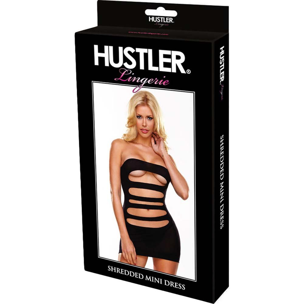 Hustler Shredded Mini Dress One Size Black - View #3