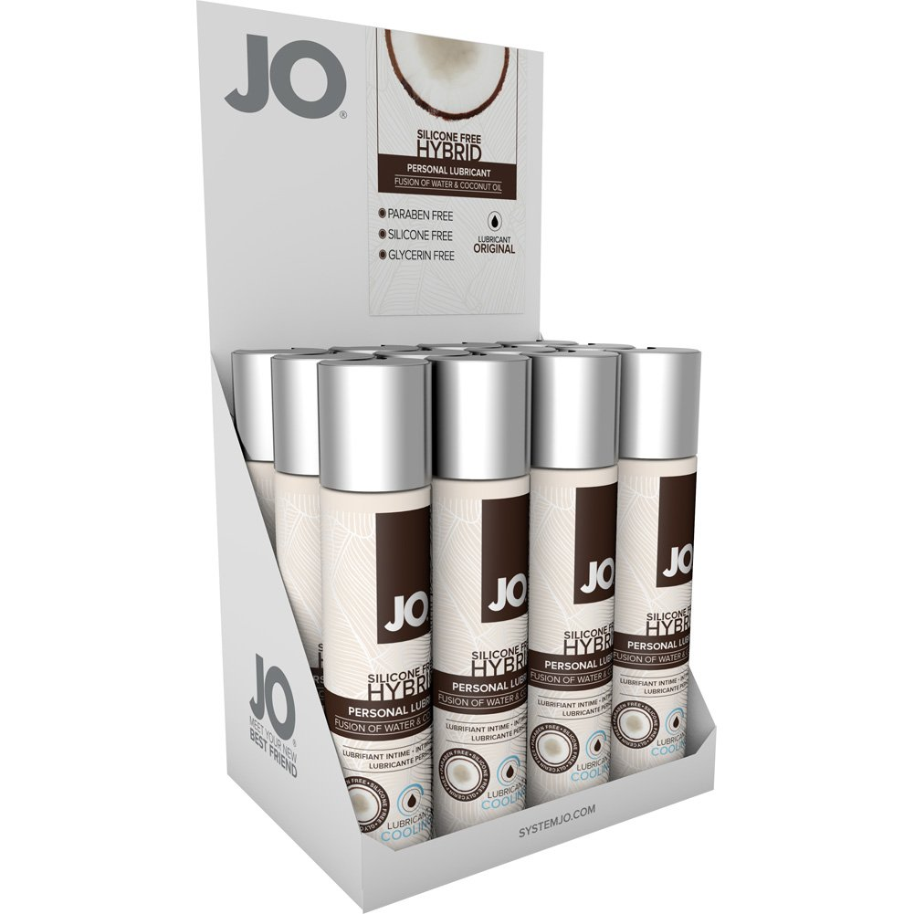 JO Silicone Free Hybrid Lubricant with Coconut Cooling 1 Fl. Oz. 12 Pieces Display Box - View #2