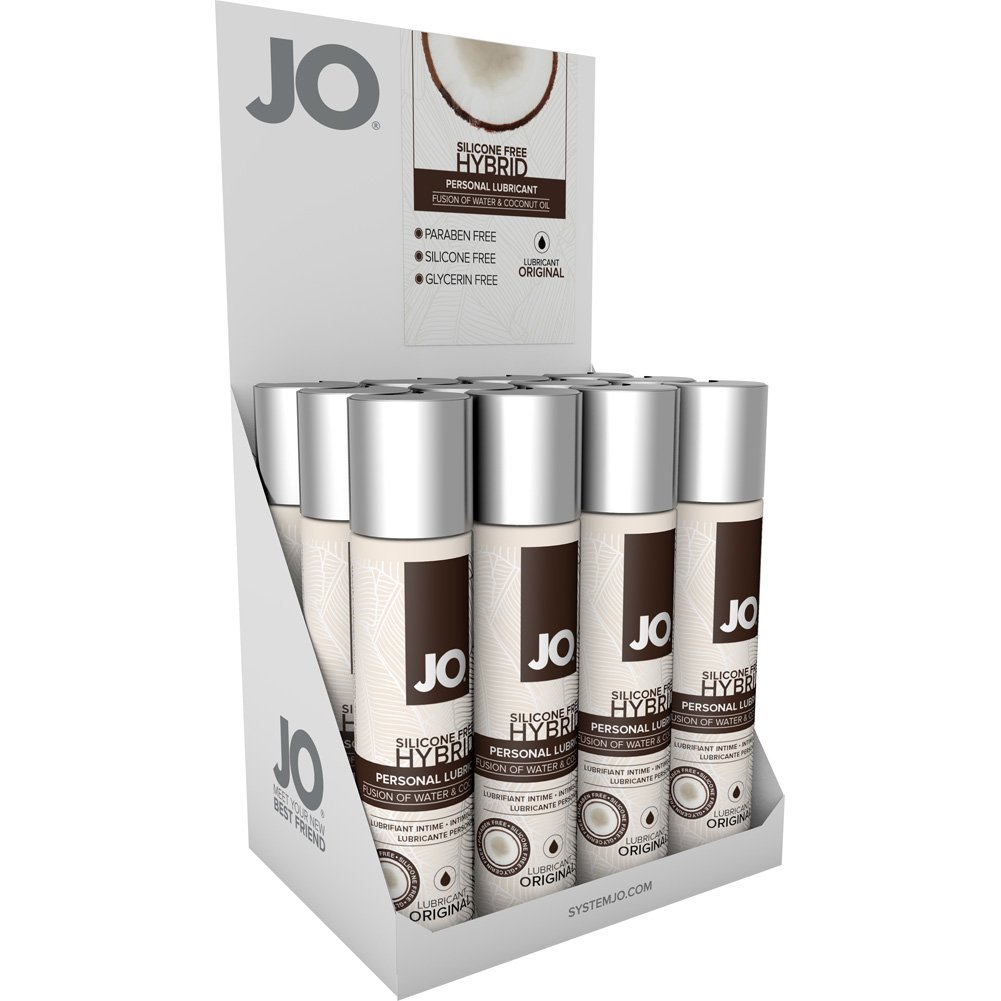 JO Silicone Free Hybrid Lubricant with Coconut Original 1 Fl. Oz. 12 Pieces Display Box - View #2