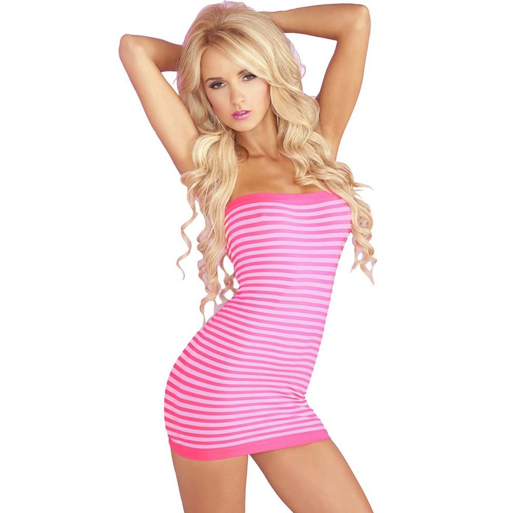 Pink Lipstick Superstripes Tube Dress One Size Pink - View #1