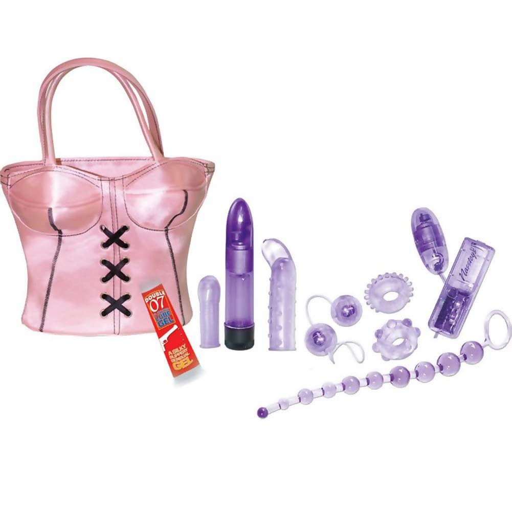 Party Girl Toys in the Bag 11 Piece Sensual Kit Hand Bag Pink - View #2