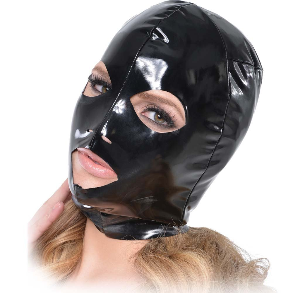 Fetish Fantasy Series Wet Look 3-Hole Hood For Her Black - View #2