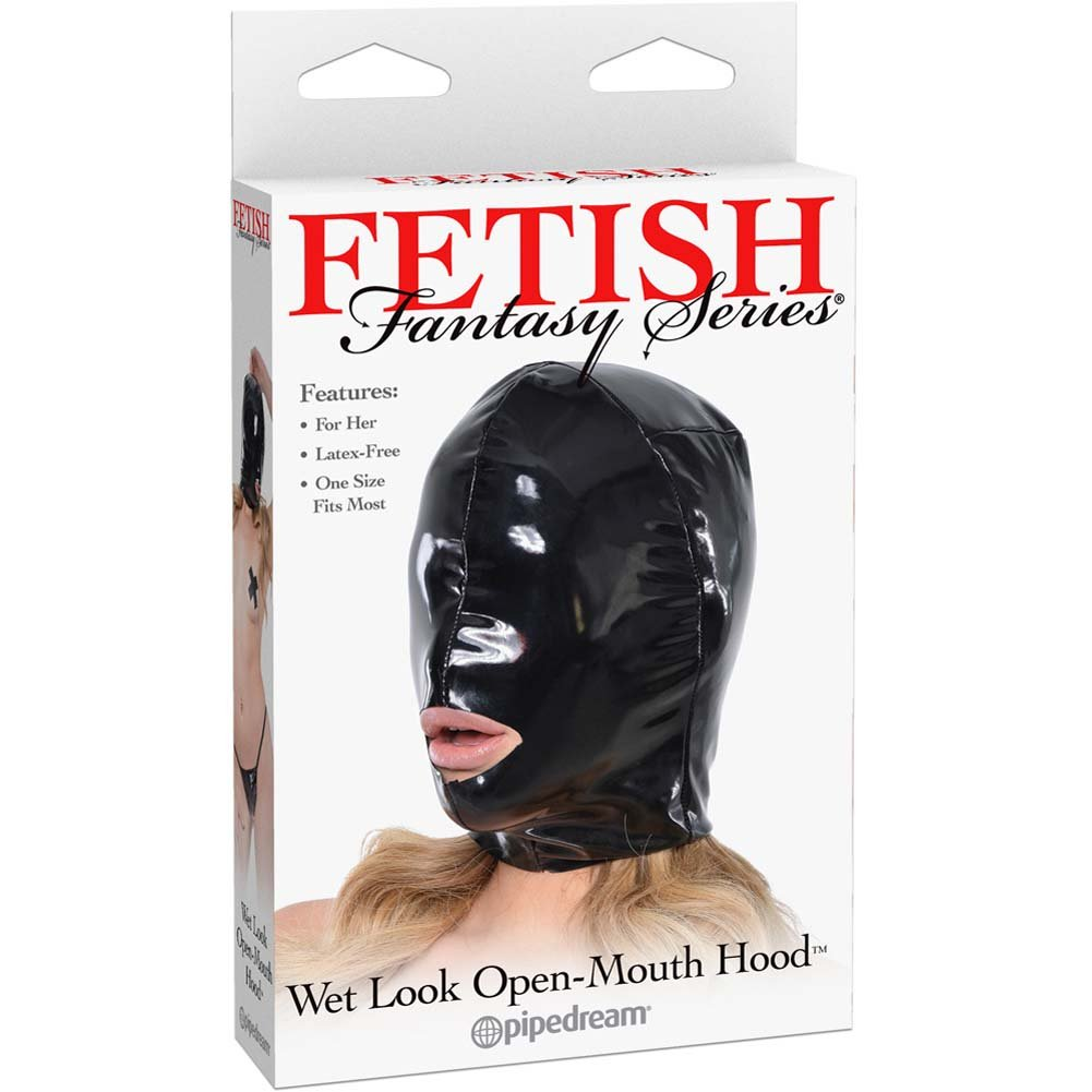 Fetish Fantasy Series Wet Look Open-Mouth Hood For Her Black - View #1