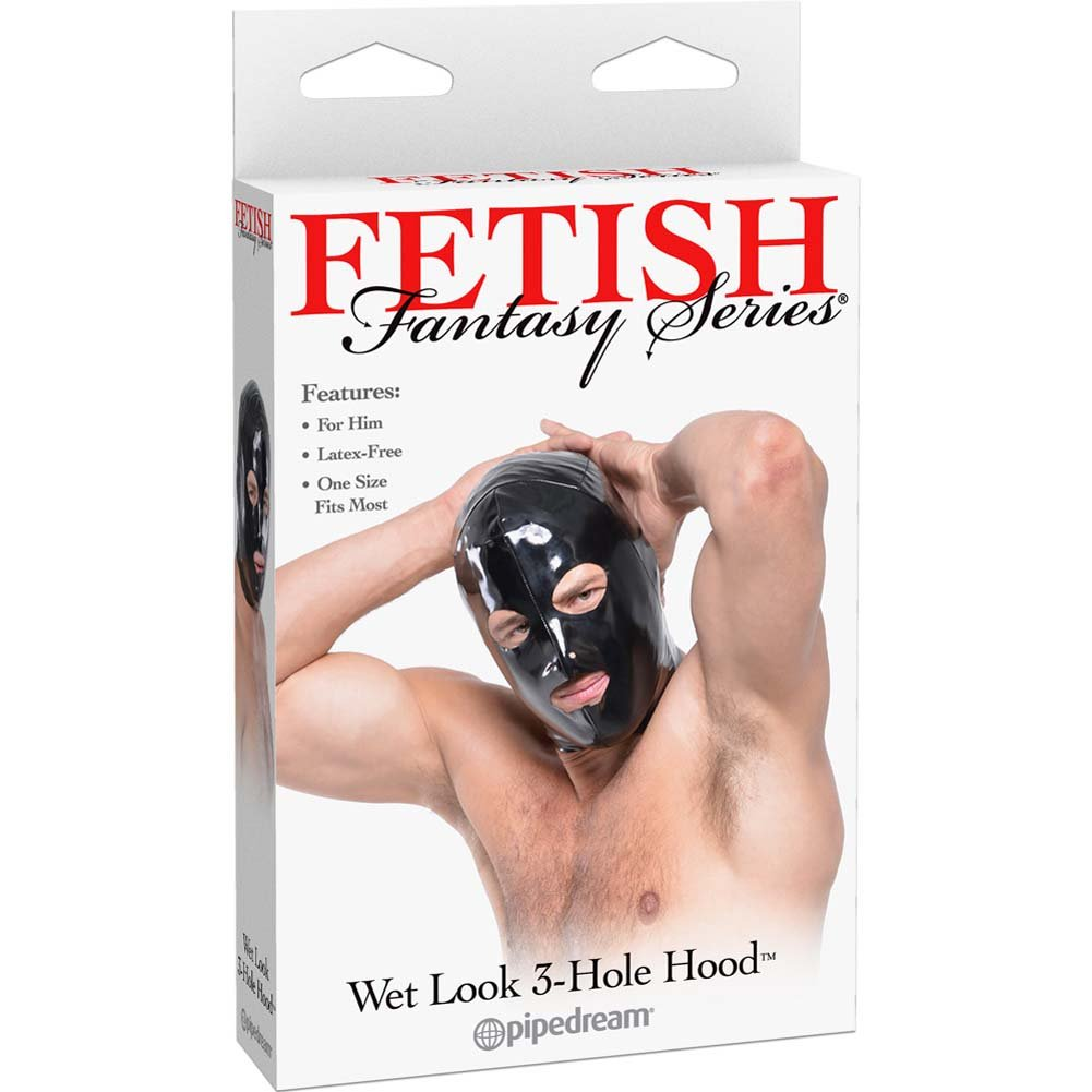 Fetish Fantasy Series Wet Look 3-Hole Hood For Him Black - View #1