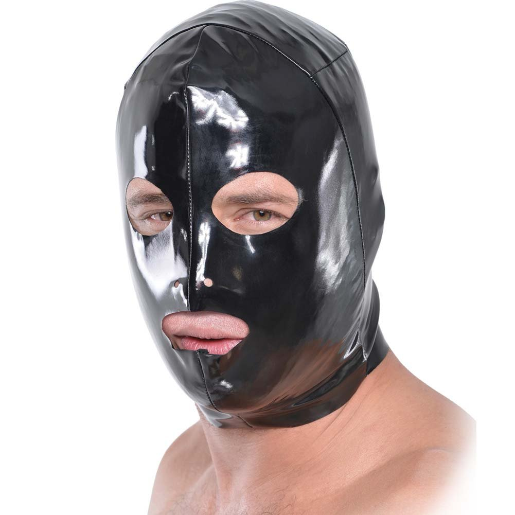 Fetish Fantasy Series Wet Look 3-Hole Hood For Him Black - View #3