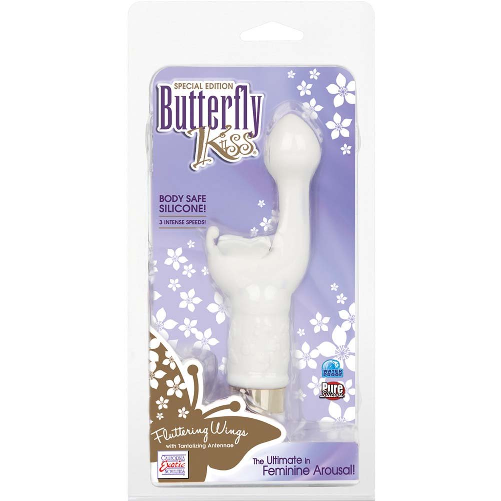 "California Exotics Special Edition Silicone Butterfly Kiss Vibrator 7.25"" White - View #1"