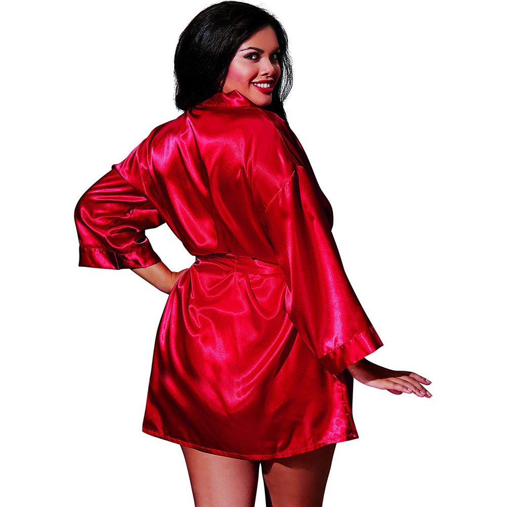 Dreamgirl Babydoll and Matching Robe with Padded Hanger 1X/2X Red - View #2