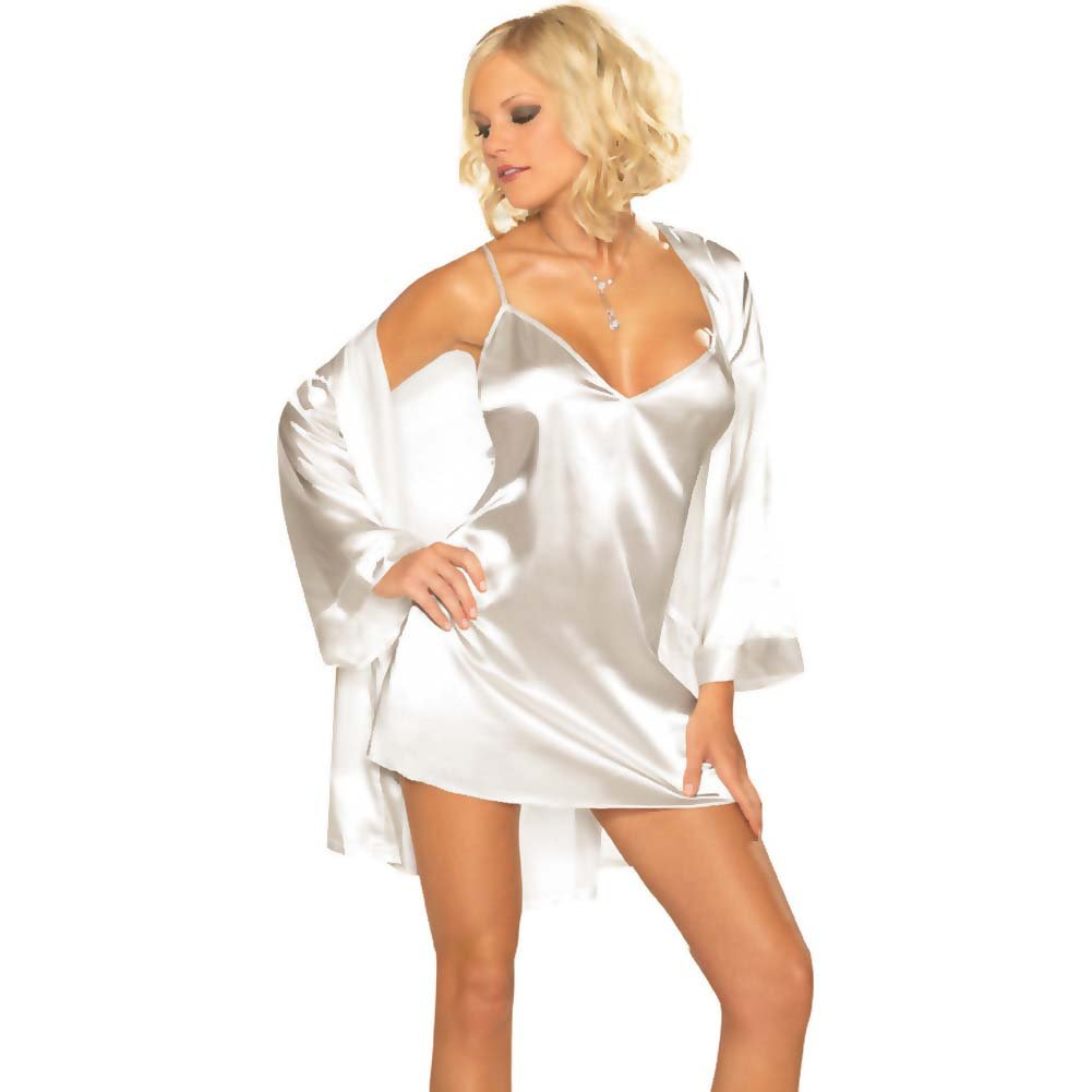Dreamgirl Babydoll and Robe with Padded Hanger Small White - View #1