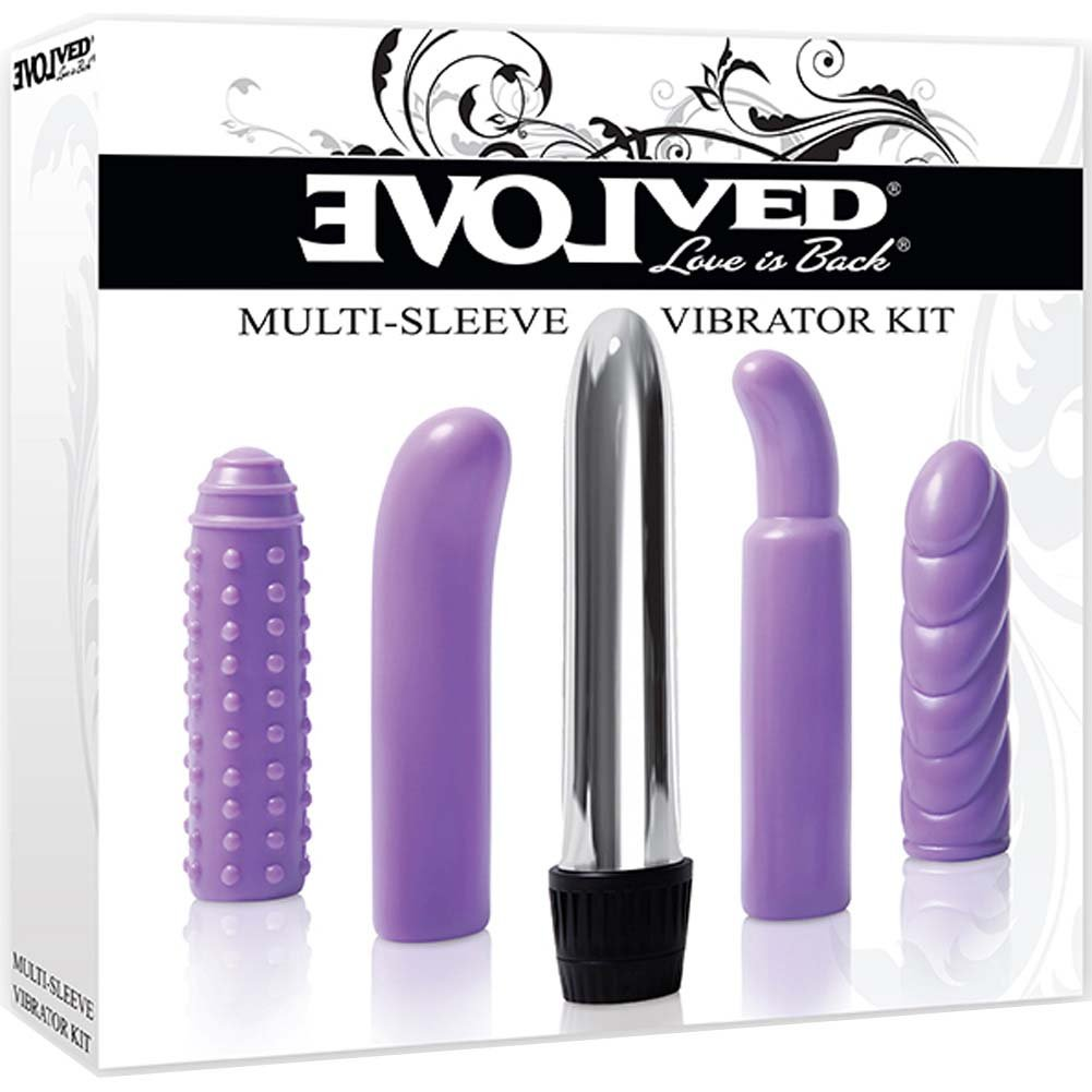"Multi Sleeve Vibrator Kit with Silver Vibe and Textures Sleeves 5.5"" Purple - View #1"