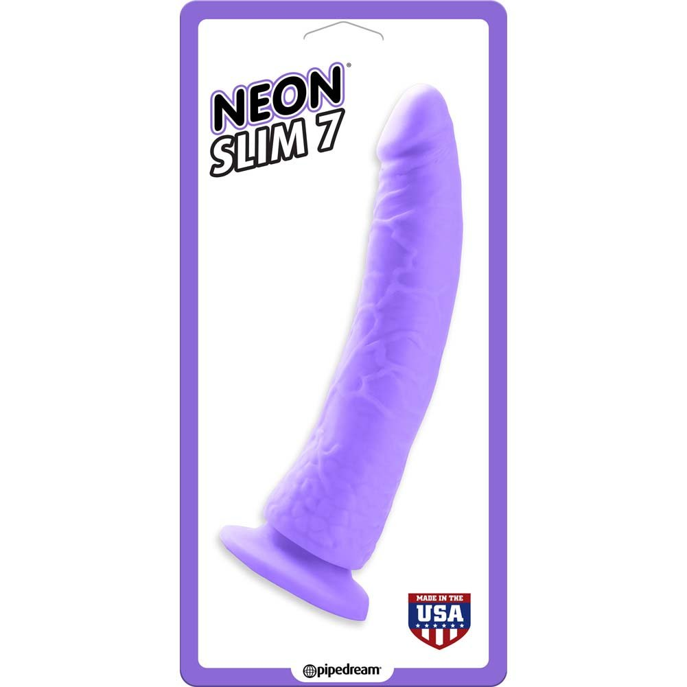 Neon Slim 7 Dildo with Suction Cup Base Neon Purple - View #1