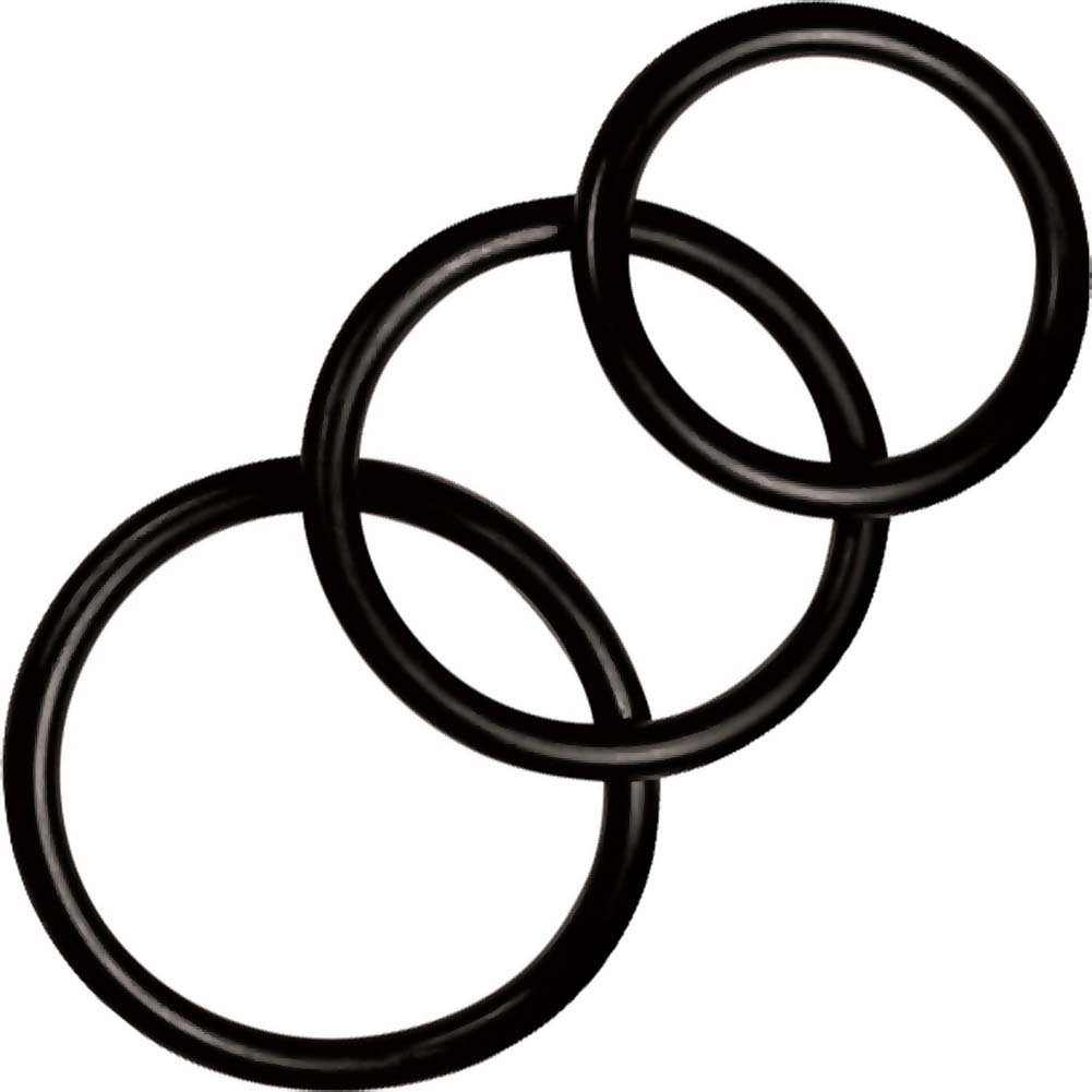 Manbound Rubber Cock Ring 3-Pack Black - View #2