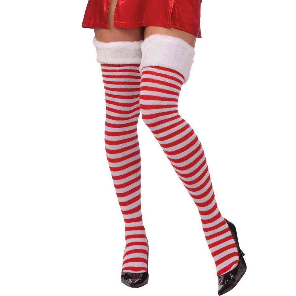 Christmas Thigh Highs with Fur Trim One Size Red/White - View #1