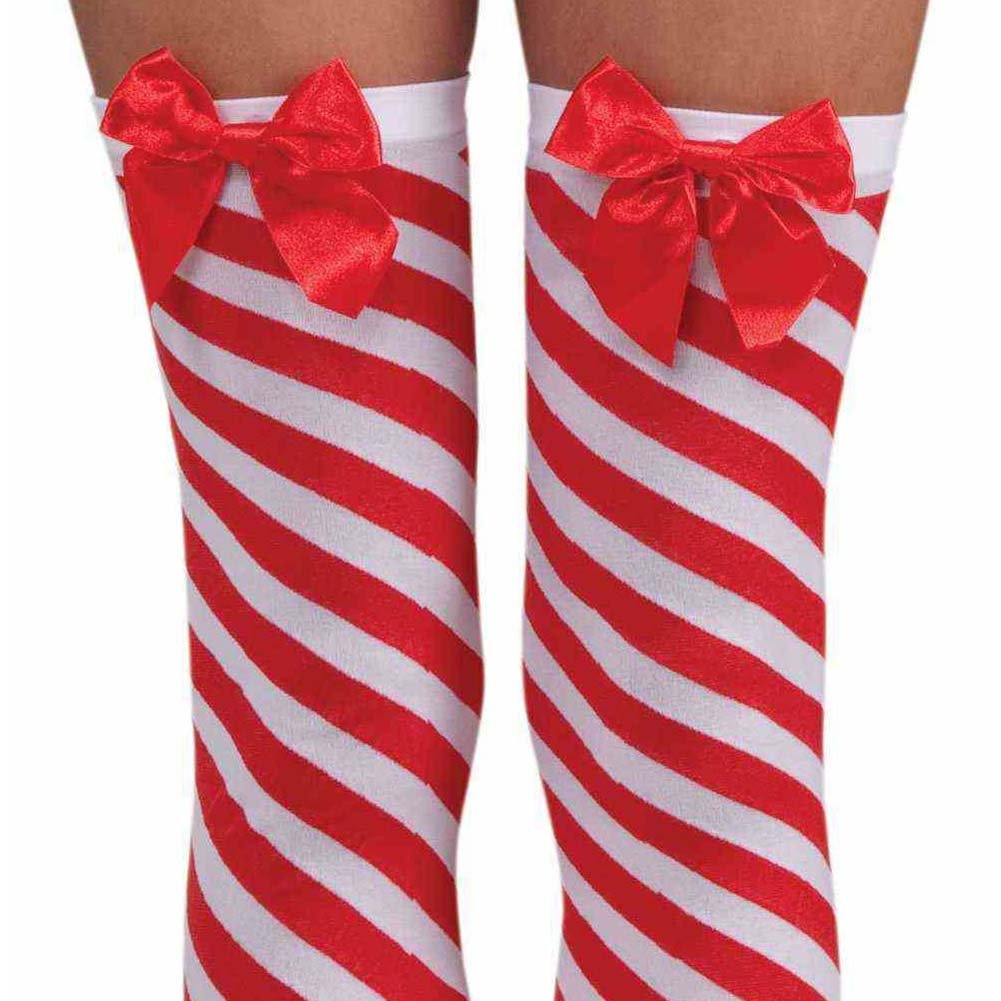 Sexy Christmas Candy Cane Thigh Highs One Size Red/White - View #2