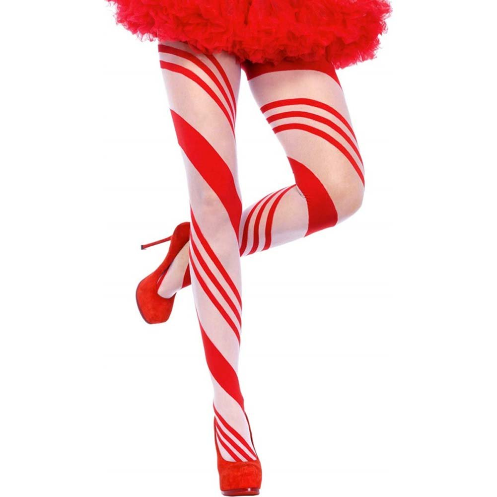 Christmas Candy Striped Pantyhose One Size Red/White - View #1