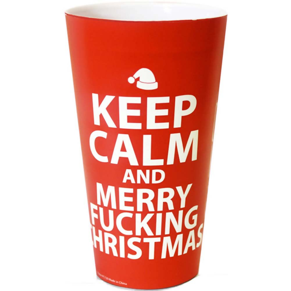 Keep Calm and Merry Fucking Christmas Plastic Cup - View #1