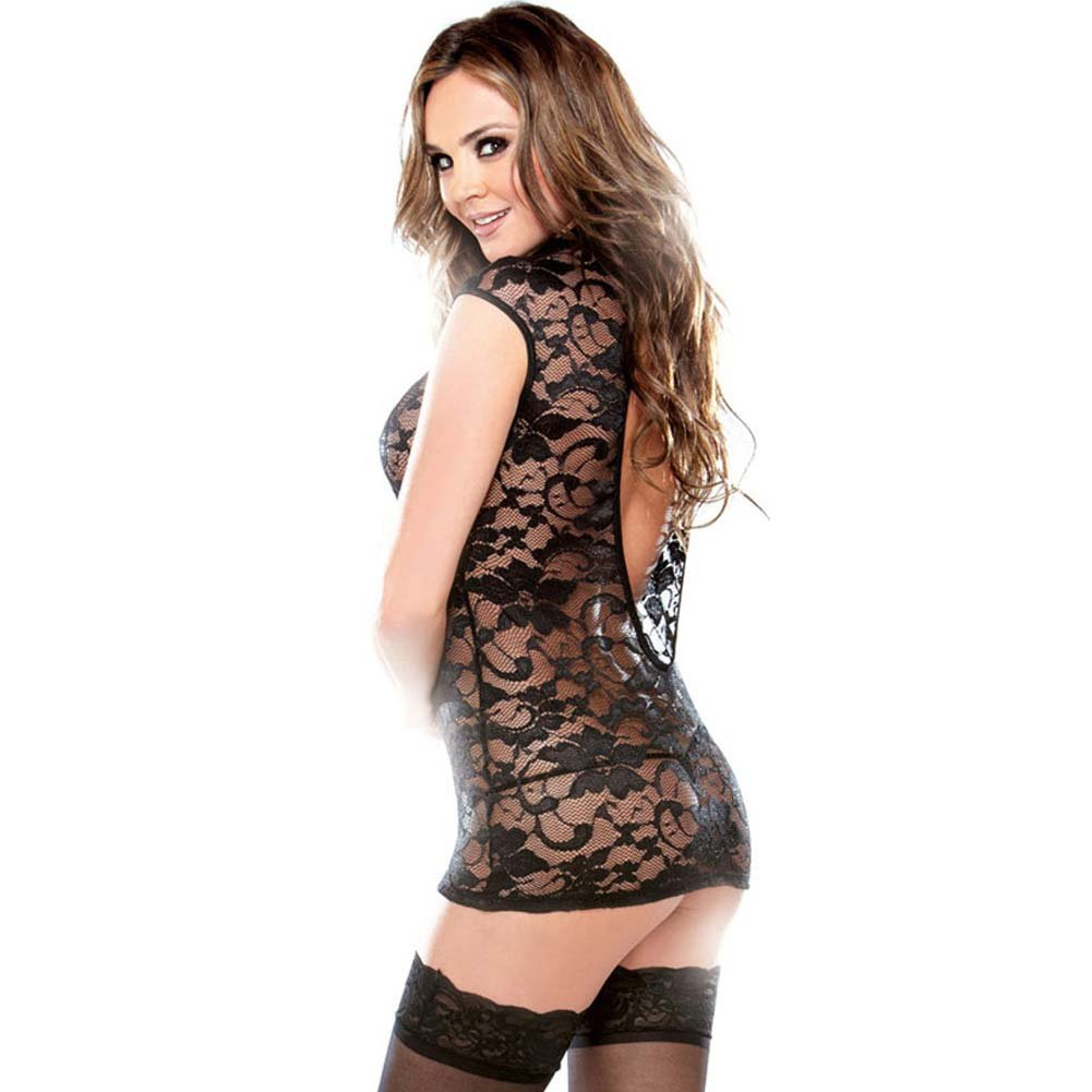 Fantasy Lingerie Lace Dress with Cutout Neckline and G-String One Size Black - View #2