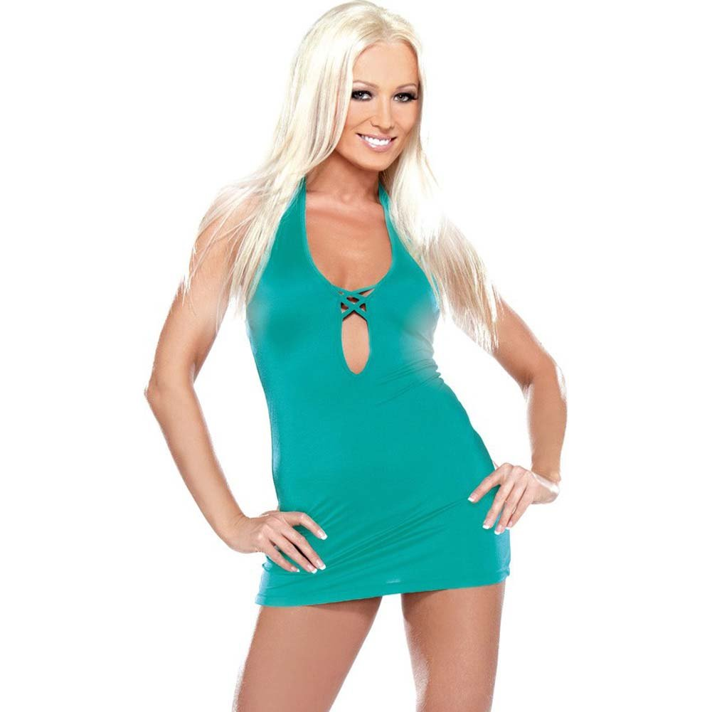 Fantasy Lingerie Sexy Crisscross Mini Dress One Size Turquoise - View #1