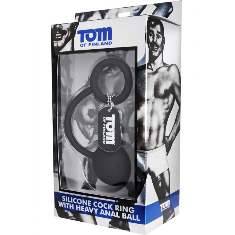 "Tom of Finland Silicone Cock Ring with Heavy 2"" Anal Ball Black - View #1"