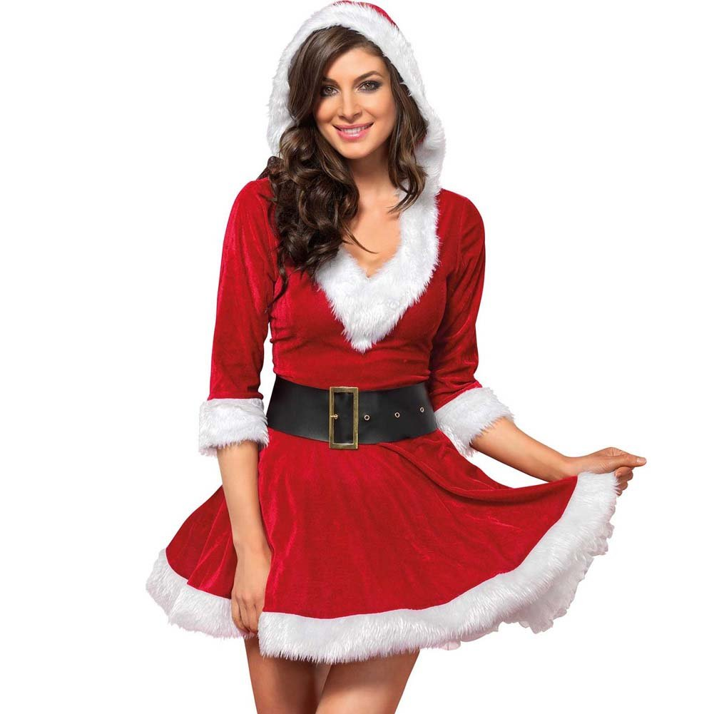 Mrs. Claus Costume Set Velvet Hooded Dress and Belt Small/Medium Red/White - View #1