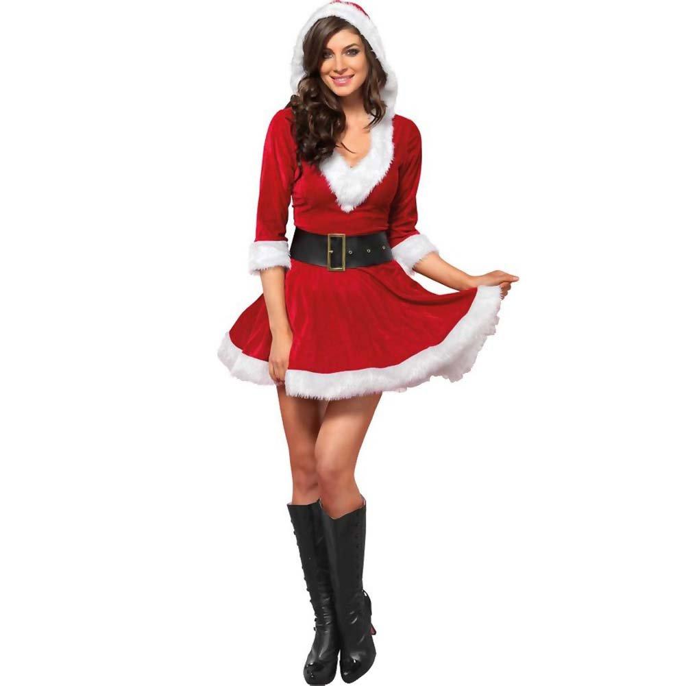 Mrs. Claus Costume Set Velvet Hooded Dress and Belt Medium/Large Red/White - View #2