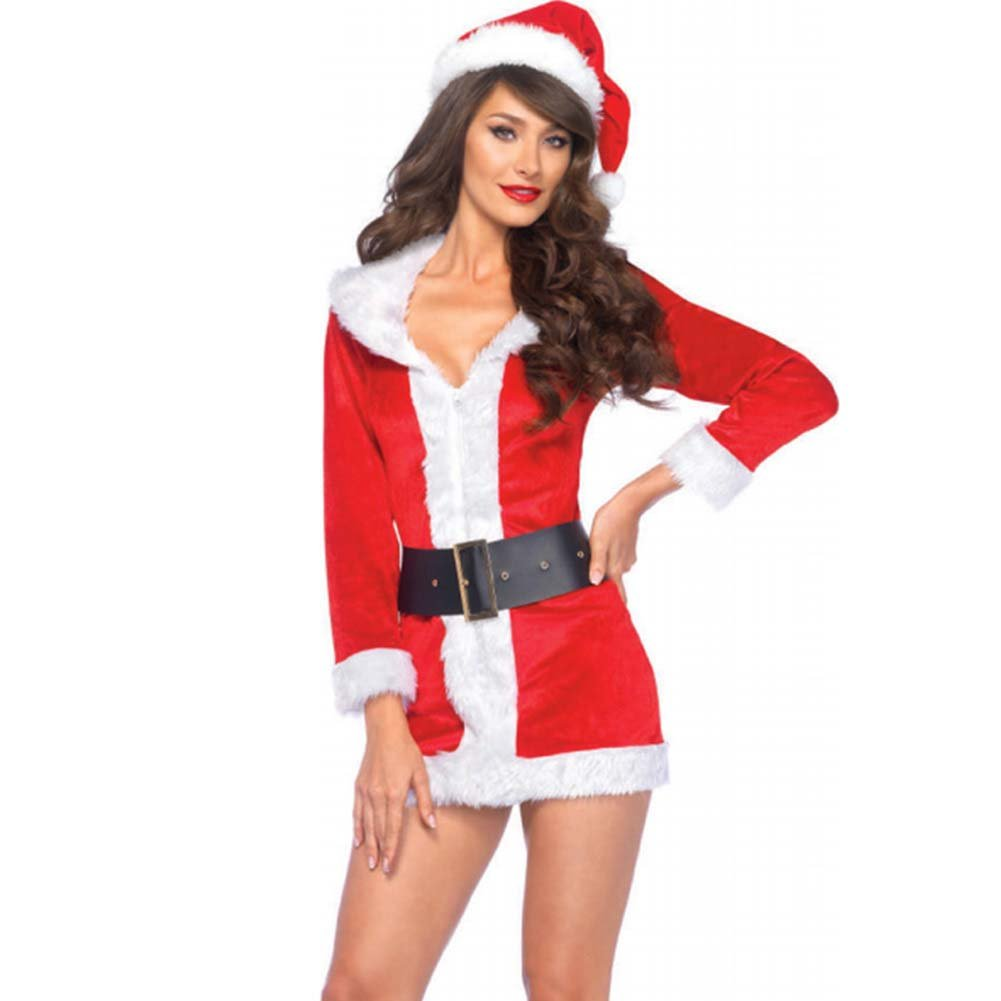 Secret Santa Costume Set Velvet Dress with Oversized Belt Santa Hat X-Large Red/White - View #1