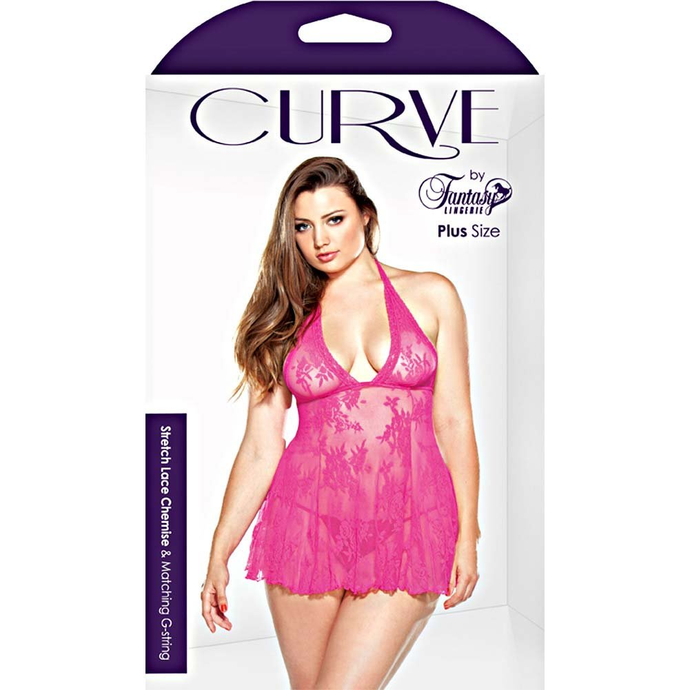 Fantasy Lingerie Stretch Lace Chemise and Matching G-String Plus Size 3X/4X Pink - View #3