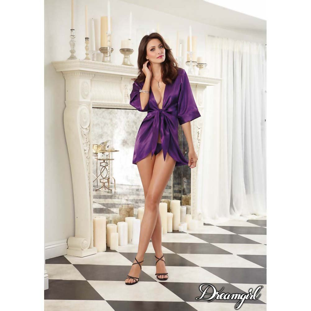 Dreamgirl Sexy Satin Loungewear Kimono Robe and Matching G-String Large Plum - View #3