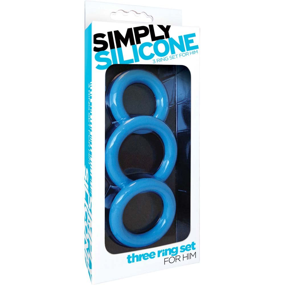 Simply Silicone Cockring Trio Sky Blue - View #1