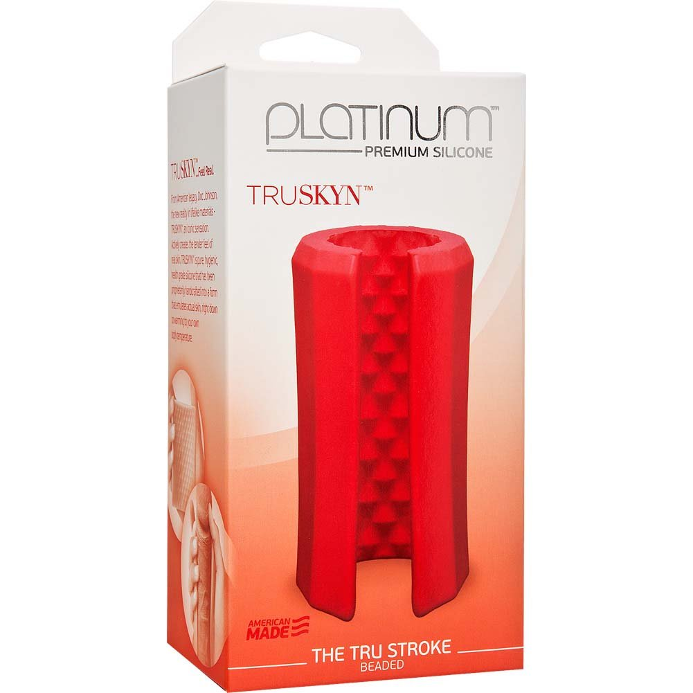 Platinum TRUSKYN the Tru Stroke Beaded Masturbator Red - View #1
