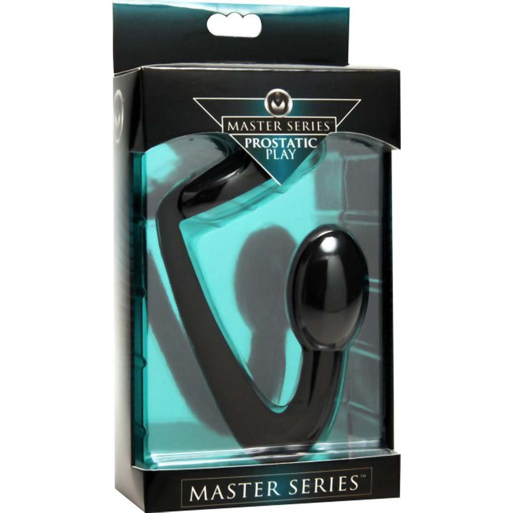 """Masters Prostatic Play Explorer Silicone Cock Ring and Prostate Plug 4.5"""" Black - View #1"""