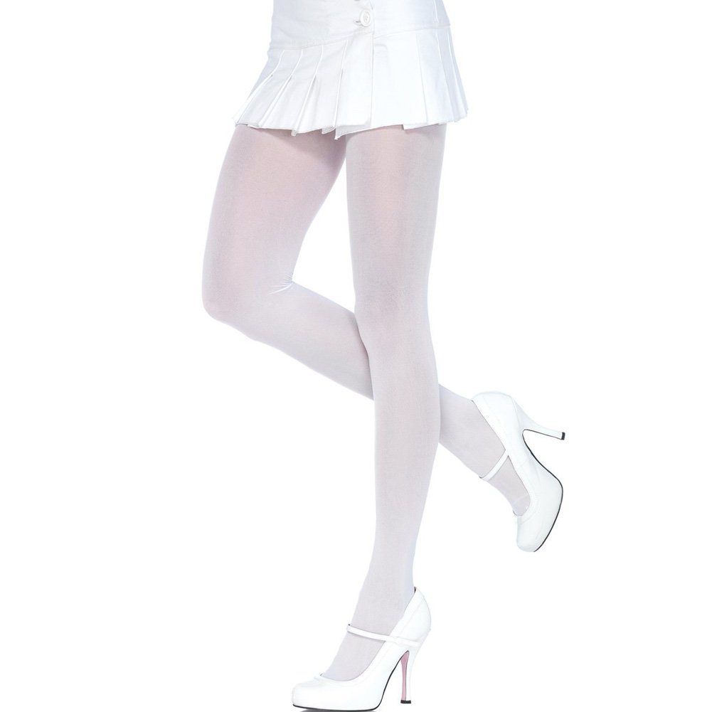 Leg Avenue Nylon Opaque Tights One Size White - View #2