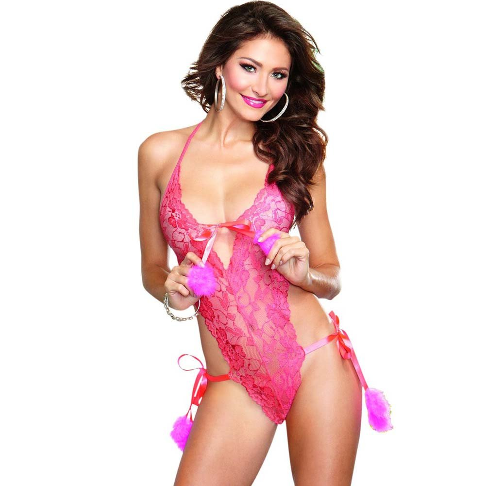 Playful and Sexy Lace Teddy with Marabou Pom-Pom Side Ties One Size Coral Pink - View #1