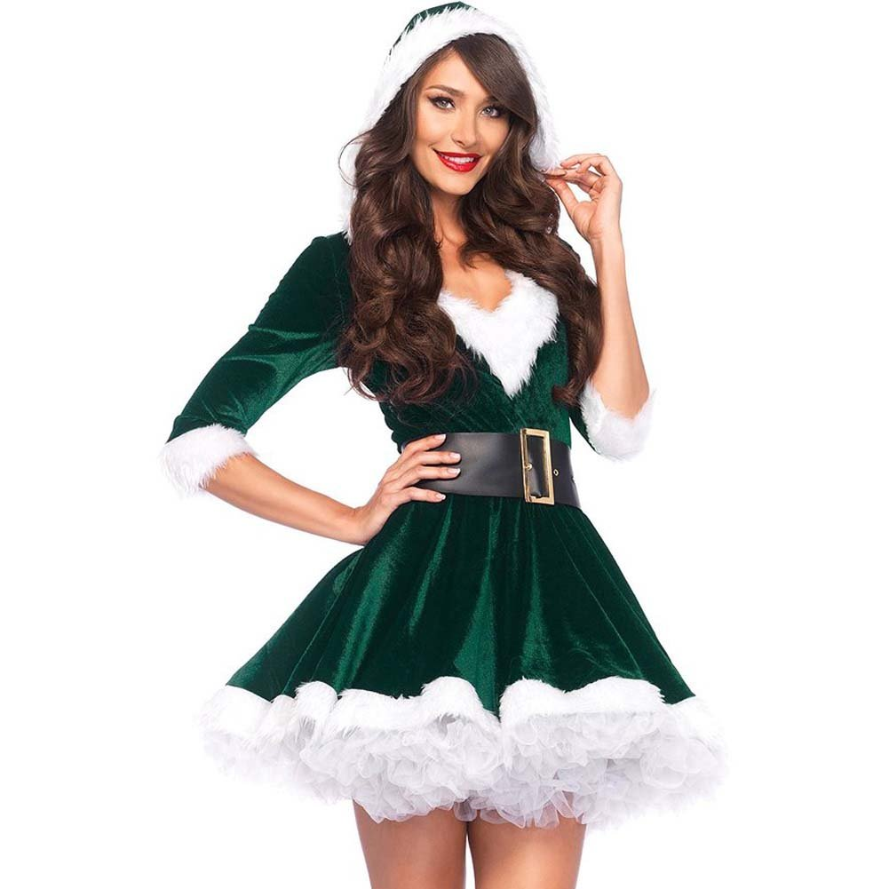 Mrs. Claus Costume Set Velvet Hooded Dress and Belt Medium/Large Green/White - View #1
