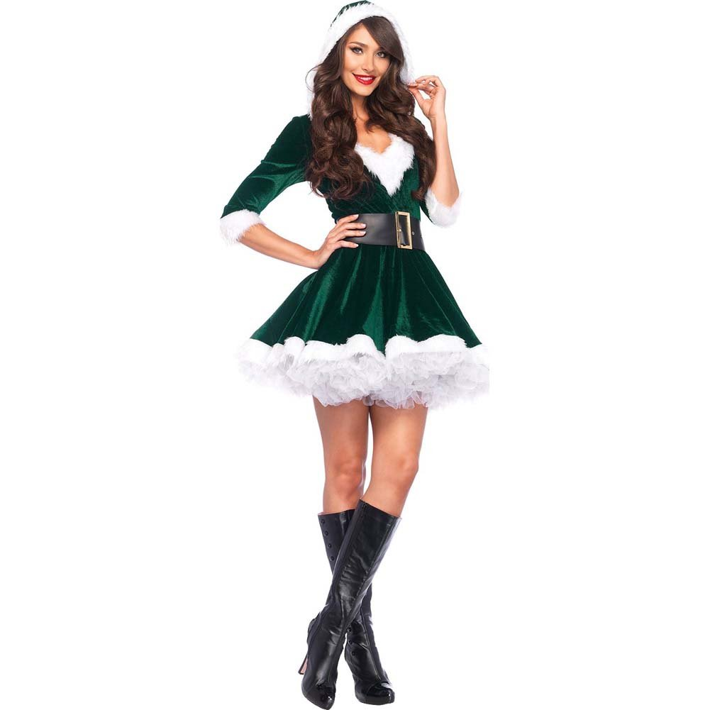 Mrs. Claus Costume Set Velvet Hooded Dress and Belt XLarge Green/White - View #2