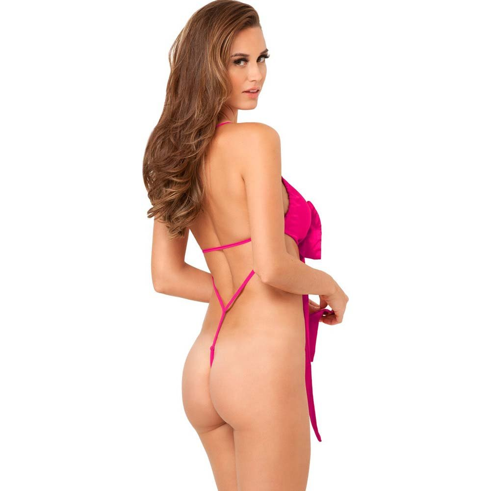 Rene Rofe Unwrap Me One Piece Satin Bow Teddy Medium/Large Hot Pink - View #2
