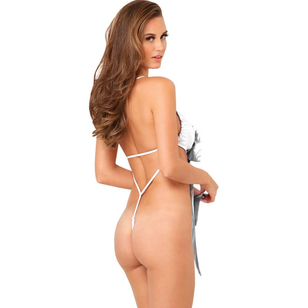 Rene Rofe Unwrap Me One Piece Satin Bow Teddy Medium/Large White - View #2