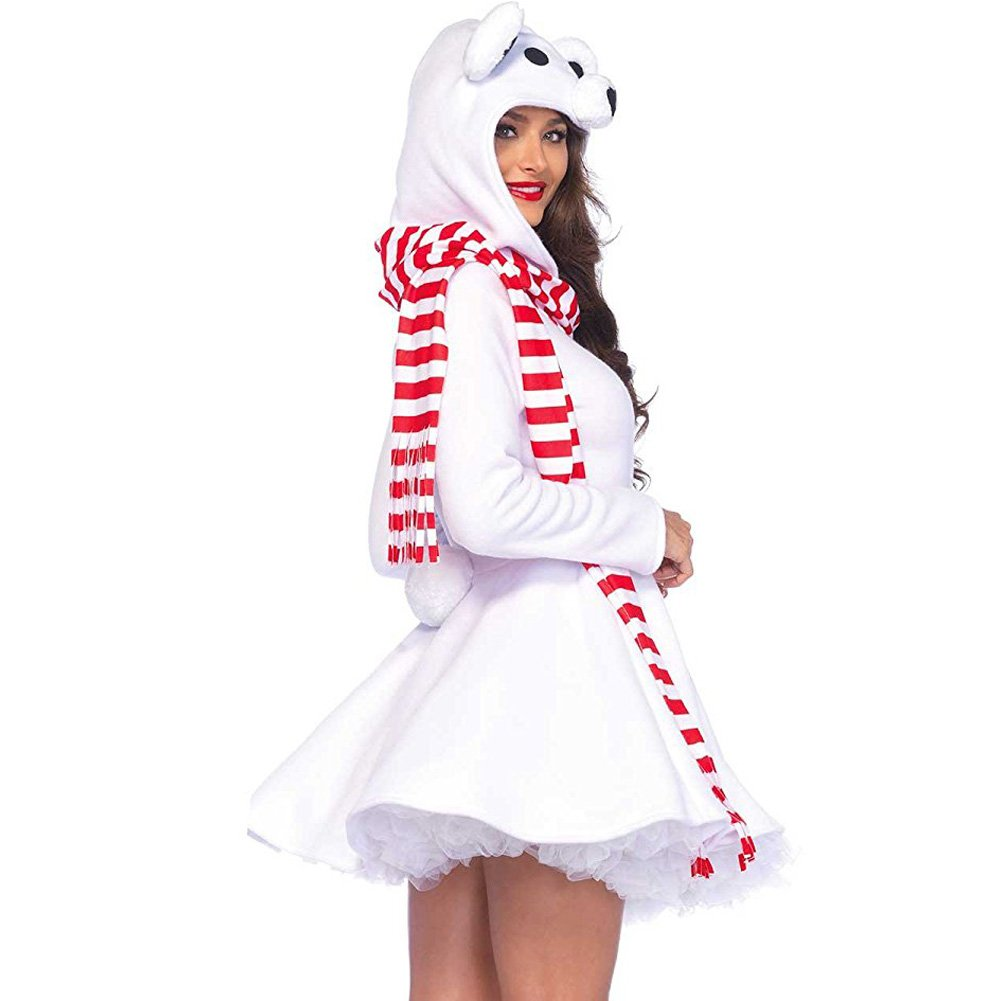Cozy Polar Bear Zipper Front Dress with Bear Hood and Striped Scarf Small White - View #2