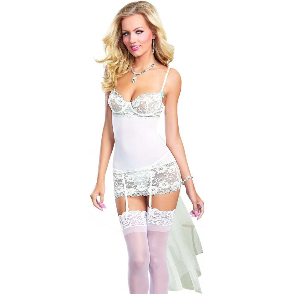 Dreamgirl Sexy Dreamy Bridal Scalloped Lace and Mesh Garter Slip Large White - View #1