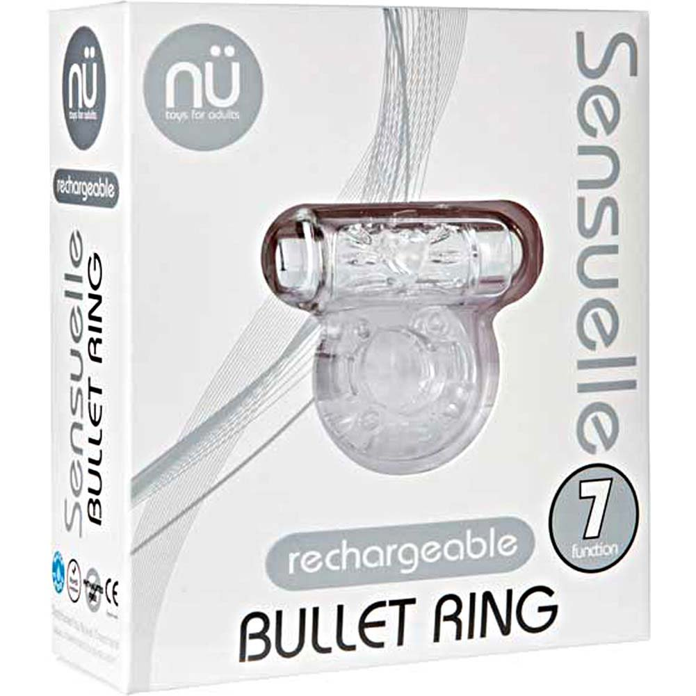 Nu Sensuelle Bullet Ring 7 Function Rechargeable Vibrating Cockring Clear - View #1