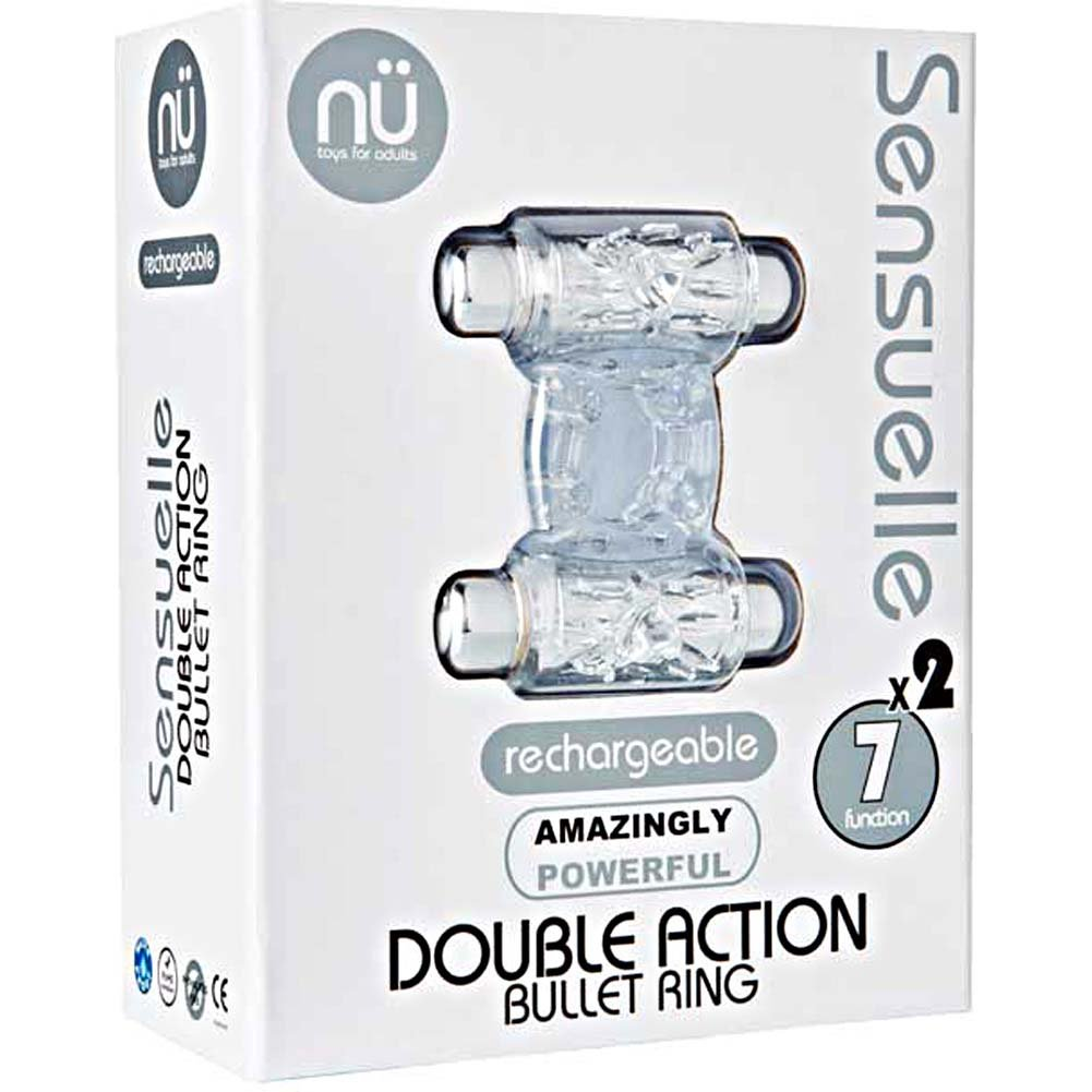 Nu Sensuelle Double Action Bullet Ring 7 Function Rechargeable Vibrating Cockring Clear - View #3