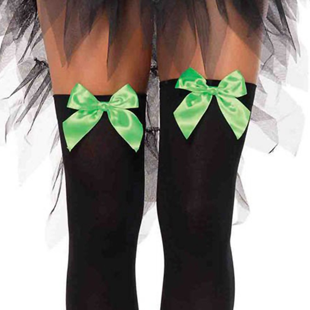 Leg Avenue Opaque Thigh High Stockings with Satin Bows One Size Black/Green - View #2